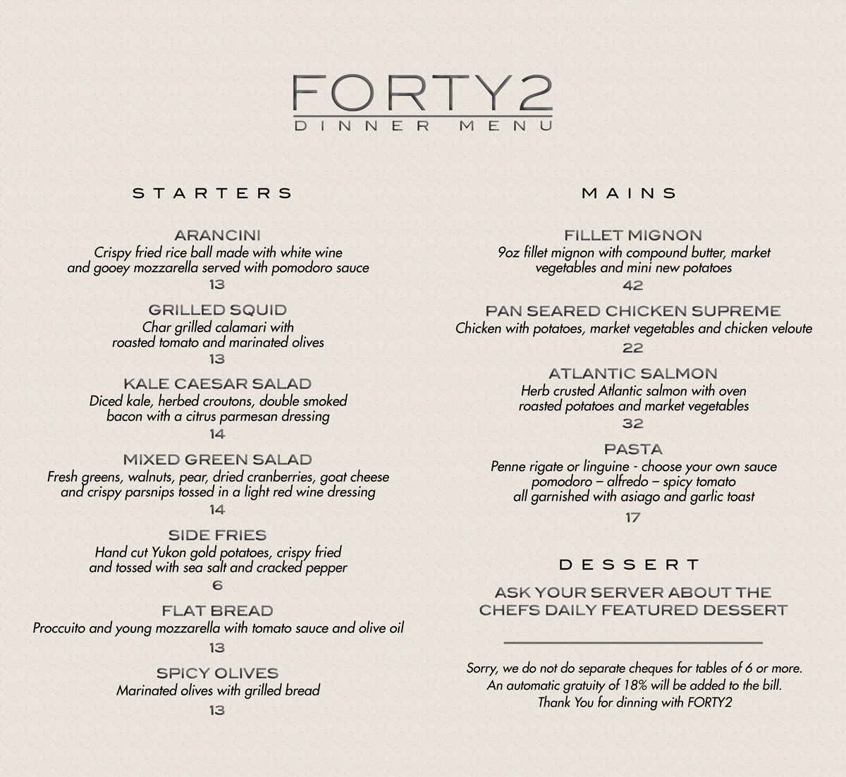 FORTY2 DINNER MENU WIDE II